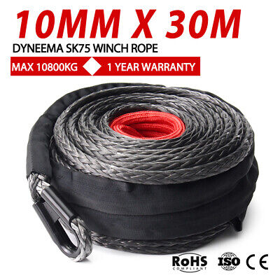 Winch Rope 10MM x 30M Dyneema SK75 Synthetic Car Tow Recovery Black Cable