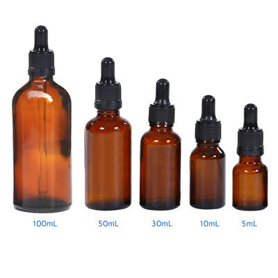 5-100ML Amber Aromatherapy Liquid Pipette Glass Bottle with Reagent Eye Dropper