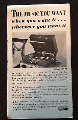 PORTABLE VICTROLA FOR 1939/ELECTRIC VICTROLA two-sided BW AD Models 0-12/R-89 !!