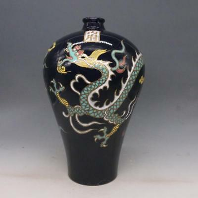 Fine Chinese Antique Blue Glazed Porcelain Dragon Vase