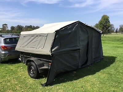 EzyTrail Camping Tent Canvas Camper top tent with trailer & cage (used) 7 by 4ft