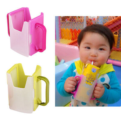 Adjust Universal Baby Juice Pouch Milk Box Holder Cup Self-Helper For Toddler AU
