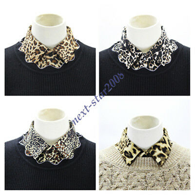 Women Leopard Print Faux Collar Detachable Collar Lapel Fashion Fake Collar HOT