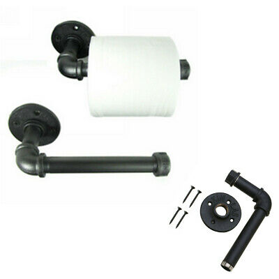 Industrial Rustic Black Pipe Metal Iron Toilet Paper Roll Holder Wall Mounted UK