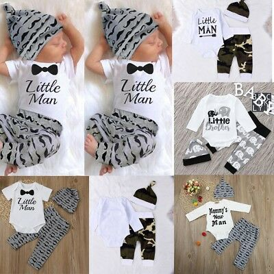 Cute 3PCS Set Newborn Baby Boy Romper Tops Shirt +Long Pants Hat Outfits Clothes