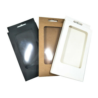 10x17x1.5cm Kraft Paper Phone Case Package Boxes Clear Window Box With Hang Hole
