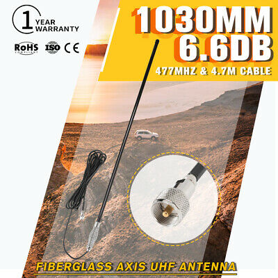Black Heavy Duty Fiberglass Antenna Axis For UHF CB Radio Hi Gain UHF 6.6DB