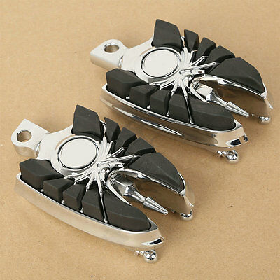 Chrome Skull Widow Footpegs Footrests For Harley Touring Dyna Fatboy V-Rod New