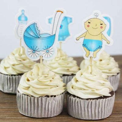 20Pcs Bake Baking Cupcake Toppers for Baby Shower Its a Boy/Girl Party Cake OO