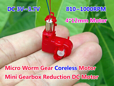 DC 3V 3.7V 1000RPM Micro Turbo Worm Gear Motor Mini 4mm*12mm Coreless DC Motor