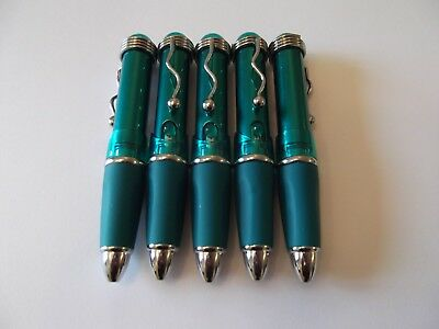 Metal Pens Ball point pens chunky pens Teal with Silver trim & clip Pack of 5