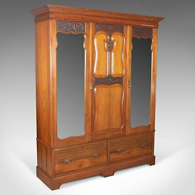 Antique Wardrobe, English, Walnut, Compactum, R. James Gloucester, Circa 1900