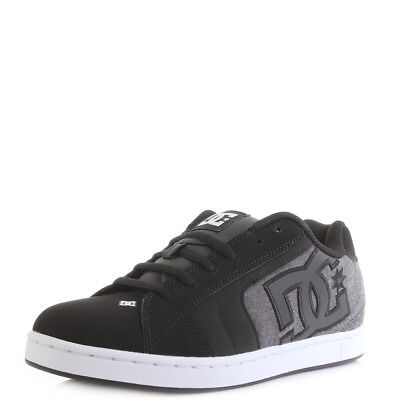 Mens DC Net SE Black Resin Leather Chunky Skate Trainers Shoe Size