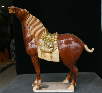 "17"" Old Chinese Tang Sancai Porcelain Animal luck Zodiac Year Horse Sculpture"