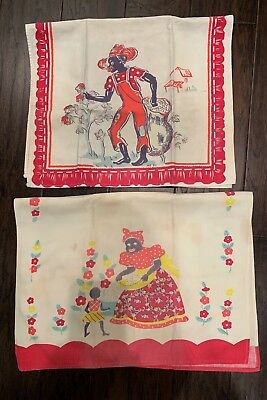 Vtg Black Americana Aunt Jemima Mammy Cotton Pickers Dish Towels, Set/2