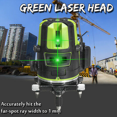 360° Green 5 Lines Laser Level Rotary Cross Leveling Measure Tool Automatic