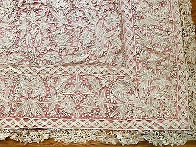 Amazing Large 18th Century Bobbin Lace Table Cover   80 x 72in