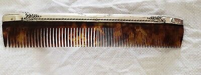 Webster Company Antique Sleeve Ladies Hair Comb Plastic Sterling Silver