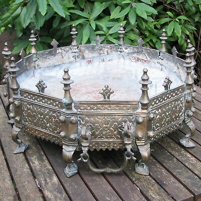 Rare Large Antique Brass Jardiniere Planter Moroccan French style paw feet