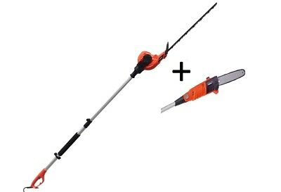 Electric Long Reach Telescopic Pole Hedge Trimmer and Chainsaw Pruner Kit