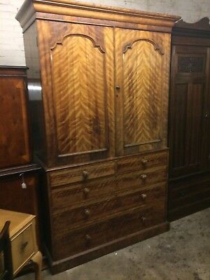 Handsome 19th Century Satin Birch Linen Press