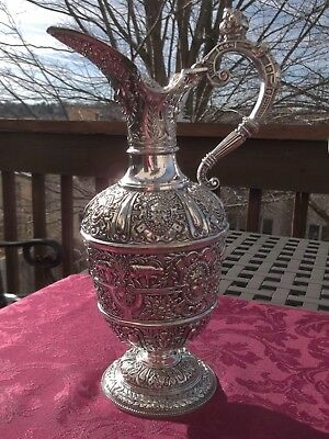 James Dixon Silver Plate Cellini Wine Jug Pitcher Flagon