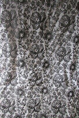 Antique French large length Black Chantilly Lace rose heads exc cond c1890