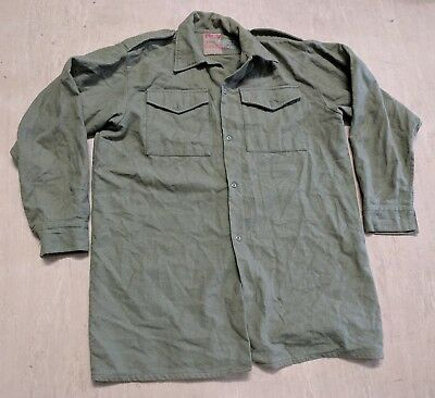 Genuine British Army Issue Vintage 1950s Wool Olive Green Shirt Size 3 UK