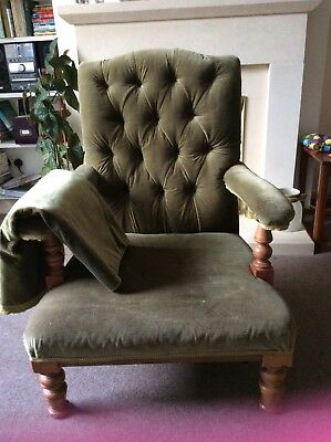 Vintage Green Victorian Low Button Back Armchair