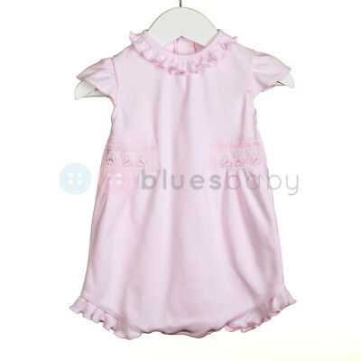Baby Girls Spanish Style Pink Smocked Embroidered Frilly Cotton Romper