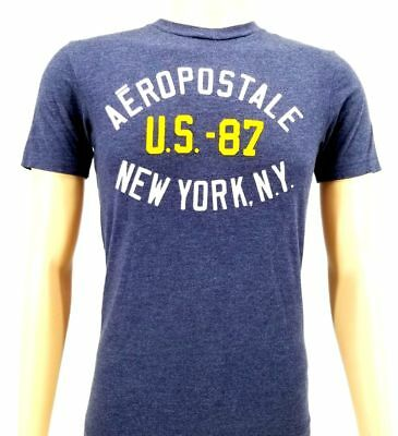 7820d8bce NWT $85 AEROPOSTALE Mens BLUE GRAPHIC CREW-NECK TEE SHORT-SLEEVE AERO T-