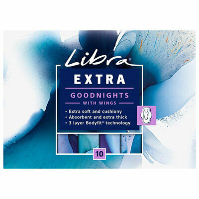 NEW Libra Feminine Hygiene Pads Pads Extra Goodnights w/Wings Proection 10Pk