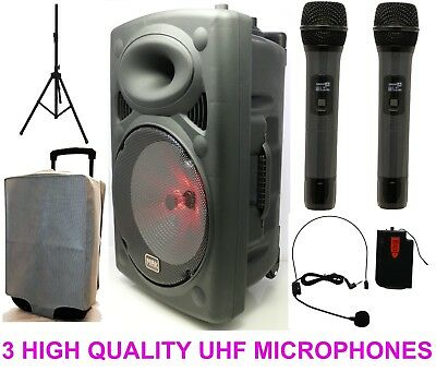 "Mak 1100w 15"" UHF Portable PA Active Bluetooth Speaker Karaoke  3WirelessMic USB"