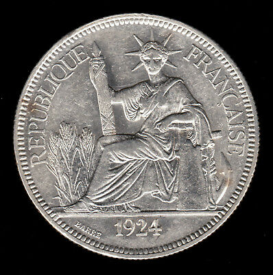 French Indo China Vietnam 1924 A 1 Piastre EF XF dipped Lg Silver Crown coin Ind
