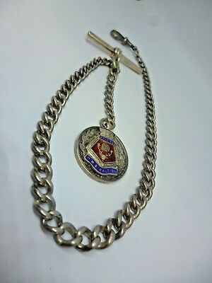Antique Solid Sterling Silver Albert chain with HMS Raleigh naval fob c.1900s