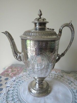 Antique Vintage Silver Plated Coffee Pot Ornate Pattern Wedding Tea Party Prop