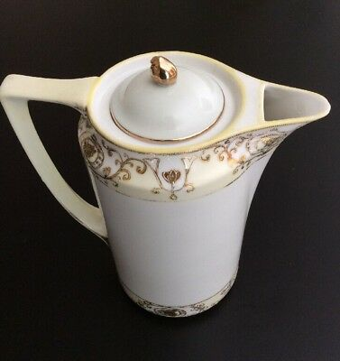 Nippon Porcelain Hand Painted Gold Chocolate or Coffee Pot Japan