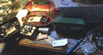 Huge Vintage Lot Singer Kenmore Sewing Machine Attachments Parts  Tools