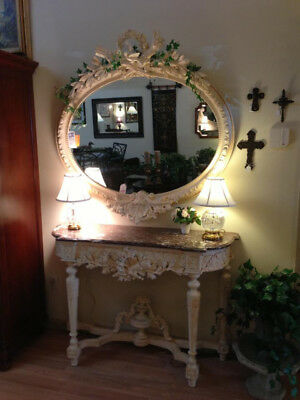 Exquisite Antique French Rococo Console & Mirror set w/ Marble Top, early 1800s