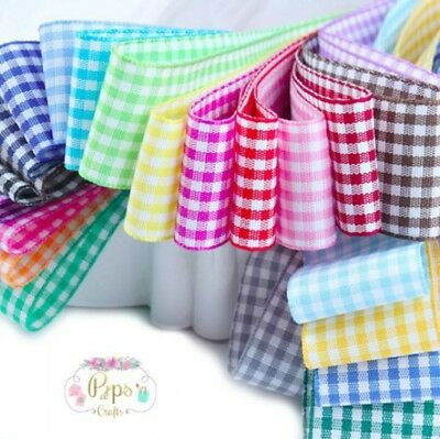 Berisfords Gingham Check Ribbon 5mm 10mm 15mm 25mm Wide & Choice Of Lengths