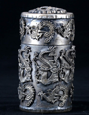 Collectible Chinese Old Silver copper Handwork carved Dragon Toothpick Box