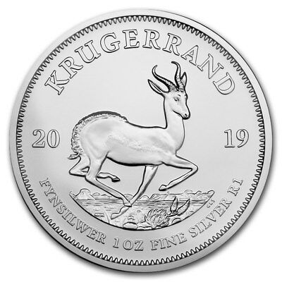 2019 South Africa Silver Krugerrand 1 oz Silver 1 Rand Gem BU in Capsule