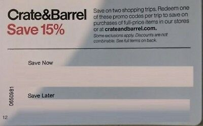 2-Crate and & Barrel 15% Entire Order Coupon-Both Expire 2/28/19