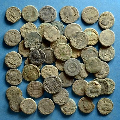 Lot of 50 Selected AE3 Size (17-21mm) Roman Bronze Coins #1