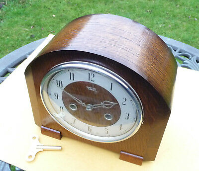 Vintage restored 1950s Smiths / Enfield striking mantle clock  with brass key.
