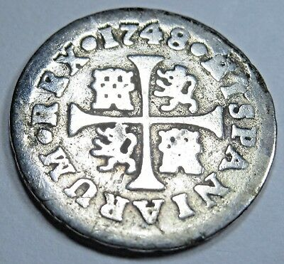 1748 Spanish Silver 1/2 Reales Piece of 8 Real US Colonial Pirate Treasure Coin