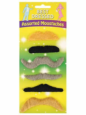 Pack of 6 different styles & coloured moustaches for a party by Henbrandt