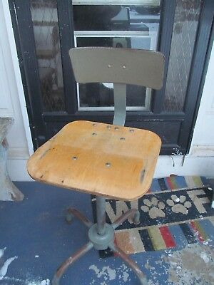 Vintage TOLEDO Era  Industrial Adjustable Drafting Stool Chair  steel Mid -cent