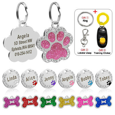 Personalised Dog Tags Cat Puppy ID Name Engraved Bone/Paw/Round Glitter Dog Tags