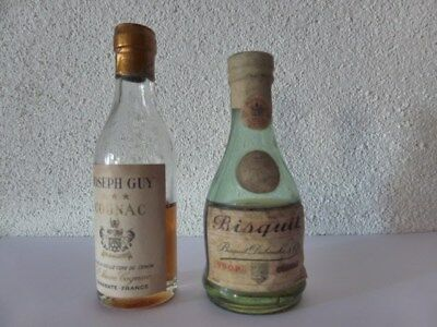 Cognac Bisquit  et Joseph guy très ancien old mini bottle collection mignonnette